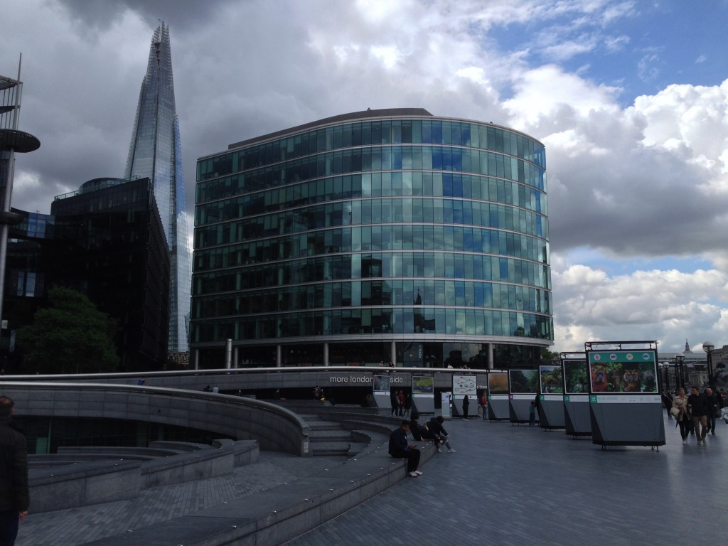 View from the end of the exhibition, with the Shard looming ominously.