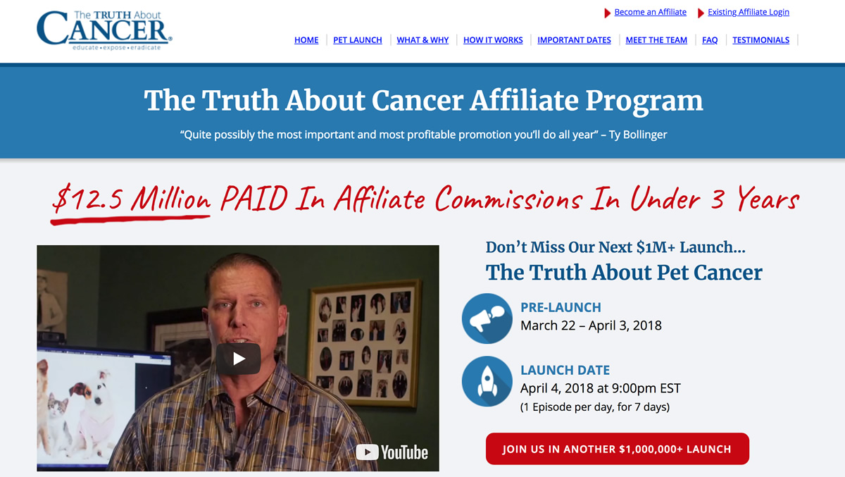Screenshot of The Truth About Cancer affiliate site