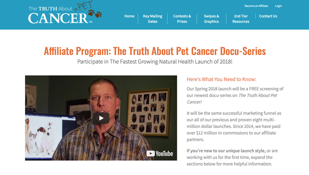 Screenshot of The Truth About Cancer Pets affiliate site